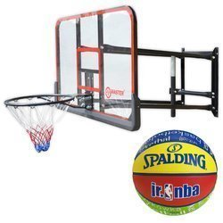 Basketball Backboard MASTER 140 x 80 cm + Spalding NBA Junior