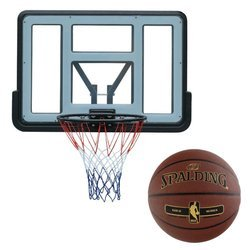 Basketball backboard MASTER 110 x 75 cm Acryl + Spalding NBA Tack Soft Gold