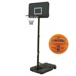 Basketball set Black 305 cm + Spalding Basketball Game Ball Replic