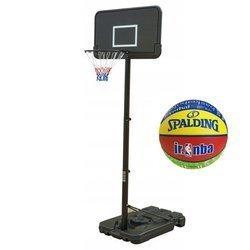 Basketball set Black 305 cm + Spalding Basketball NBA Junior