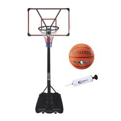 Mobile basketball set LEAN 225-305 cm + Spalding NBA Silver Outdoor + Pump