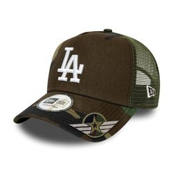 New Era MLB Los Angeles Dodgers A Frame Trucker Cap Custom Army - 12285541