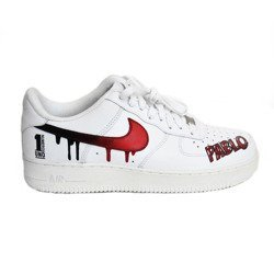 Nike Air Force 1 Low All White Custom Pablo Numero Uno Shoes - 315122-111