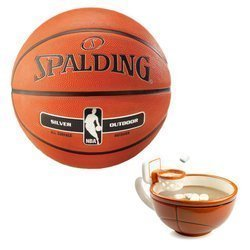 Spalding NBA Silver Outdoor + MAX'IS Creations Cup - Basketball The Mug With A Hoop