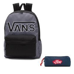 VANS Realm Flying V Backpack - Houndstooth Black/White | VN0A3UI8YER + Pancil Pouch
