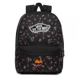 Vans Realm Beauty Floral Black Backpack Custom Heart - VN0A3UI6ZX3