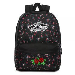Vans Realm Beauty Floral Black Backpack Custom Roses - VN0A3UI6ZX3