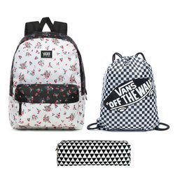 Vans Realm Classic Beauty Floral Patchwork Backpack + Bag + Pencil