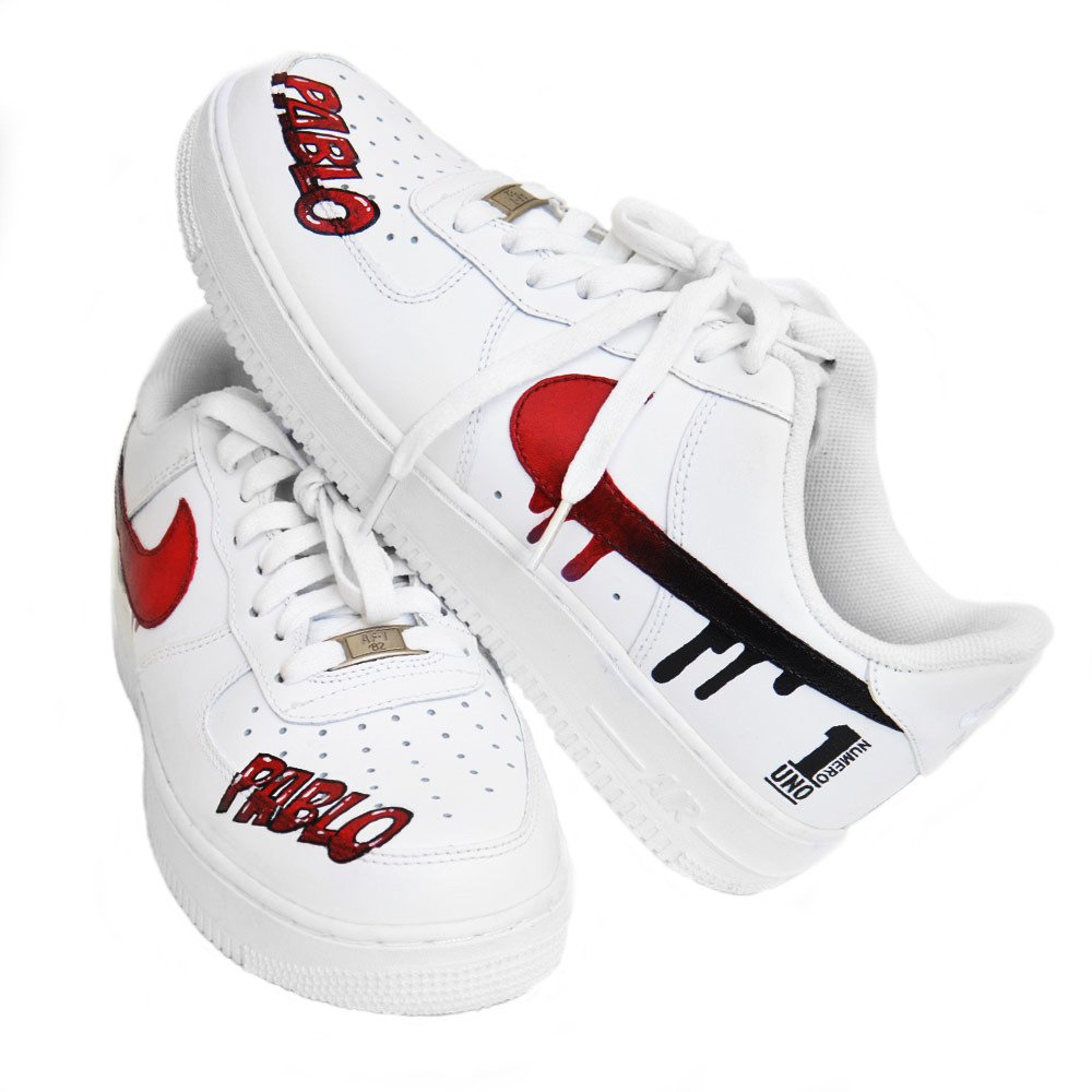Nike Air Force 1 Low All White Custom Pablo Numero Uno Shoes