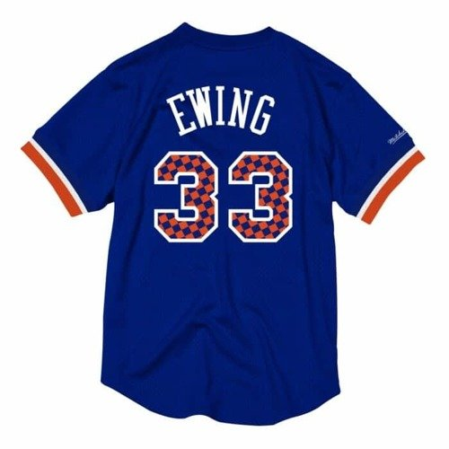 Mitchell & Ness NBA New York Knicks Patrick Ewing Name & Number Mesh Crewneck - NNMPMG18062-NYKROYA96PEW