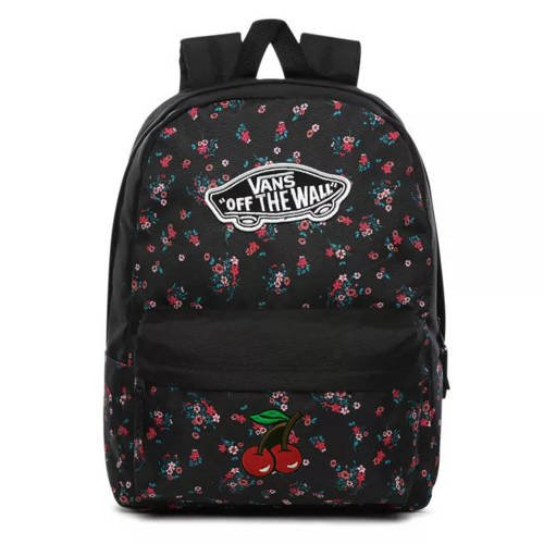 Vans Realm Beauty Floral Black Backpack Custom Cherry - VN0A3UI6ZX3