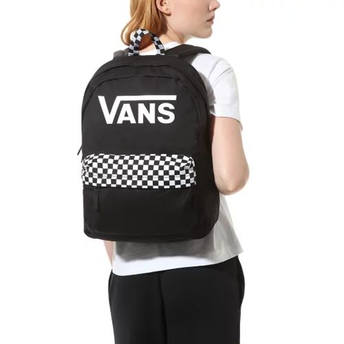 Vans Realm Black Checkerboard Backpack Custom Roses - VN0A4DRMBLK