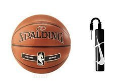 Spalding Silver NBA Basketball Indoor/Outdoor + Nike Essential Dual Action Ball Pump