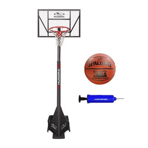 Basketballkorb Hudora Competition Pro + Spalding Grip Control + Pump