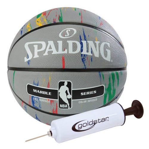 Spalding NBA Basketball Marble Series Guľa + Goldstar Ball Pump